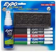 Blister c/5 Marcadores p/ Quadro Branco Expo Fino +Apagador + Limpador