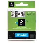 Fita p/rotulador eletronico PROFISSIONAL 12mmx7mt PT/Transparente 45010