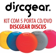 KIT C/ 5 PORTAS CDs DISCGEAR DISCUS - 5 CORES