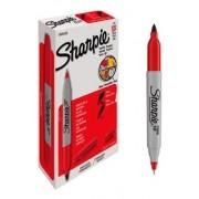 Marcador permanente Sharpie Twin Tip Vermelho - Cartucho c/12.