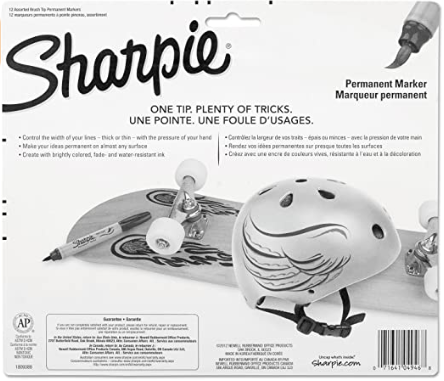 BLISTER C/12 MARCADORES PERMANENTES SHARPIE - BRUSH TIP SORTIDO