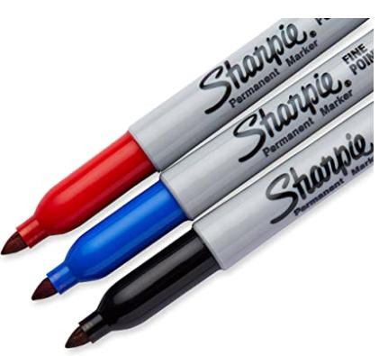 Blister c/3 Marcadores Permanentes Sharpie Fino Preto/Azul/Vermelho