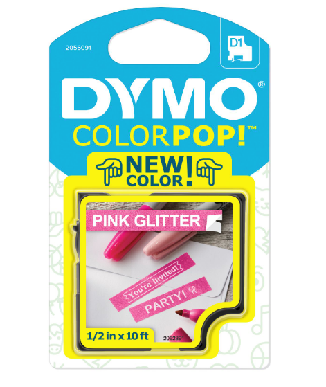 Fita gliterizada DYMO para rotulador LM (12mm x 3m) branco/rosa