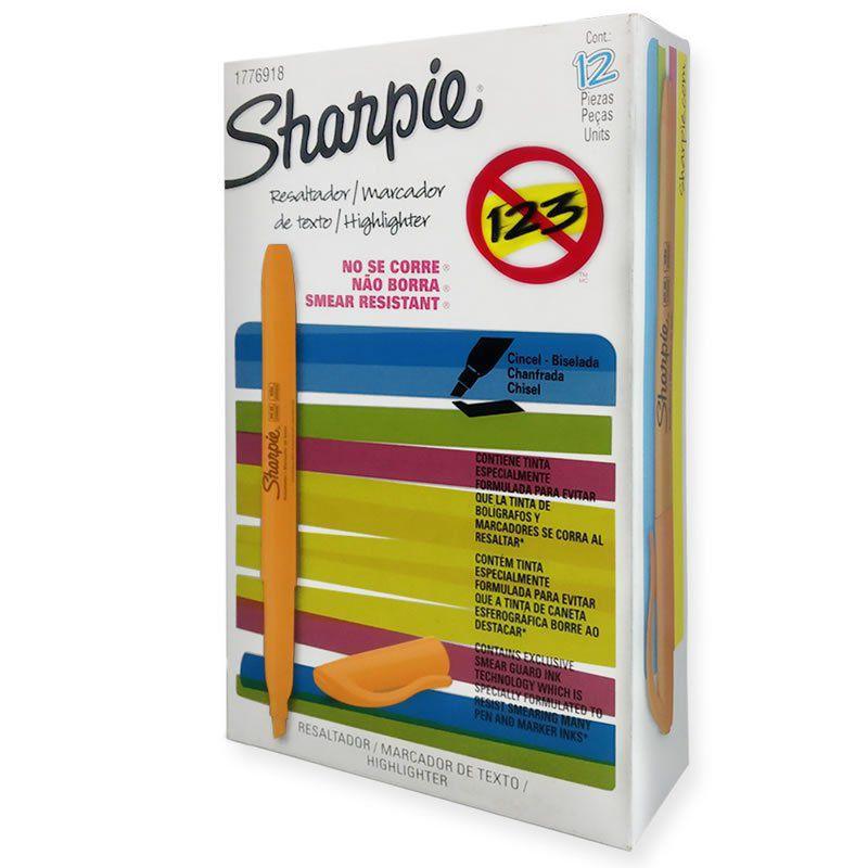 Marca texto Sharpie pocket Laranja c/ 12 unidades