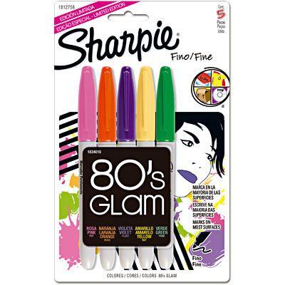 Marcador permanente Sharpie fino c/ 5 cores 80's Glam