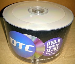 100 DVD-R DTC 16X  PRINTABLE   ( made taiwan)