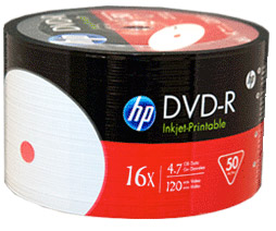 100 DVD-R HP 16X PRINTABLE
