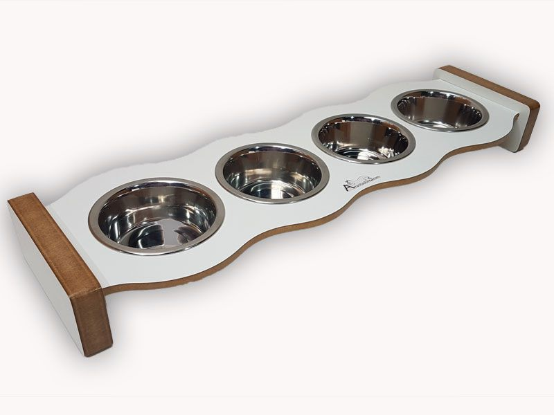 Comedouro Inox para Gatos - Cat Food Four - Branco