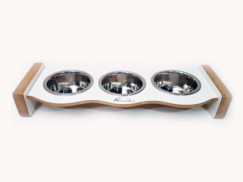 Comedouro Inox para Gatos - Cat Food Three - Branco