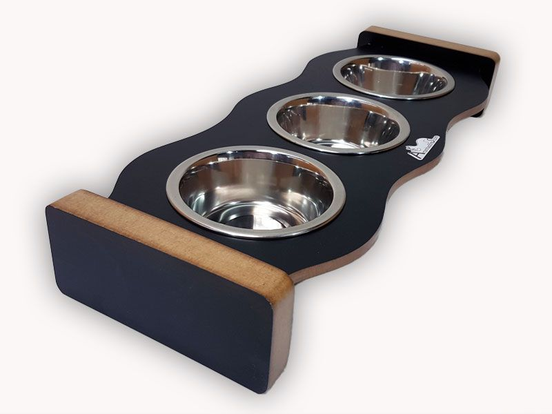 Comedouro Inox para Gatos - Cat Food Three - Preto
