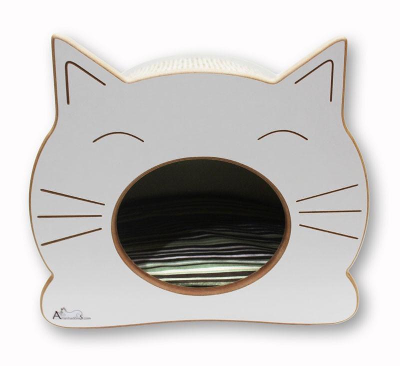 Nicho Casinha Cama Toca para gato - Happy Cat - Branco - Ilhabela Marrom