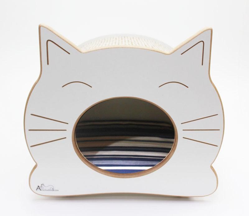 Nicho Casinha Cama Toca para gato - Happy Cat - Branco - Illimani Marinho