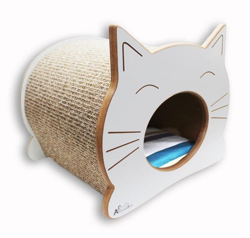 Nicho Casinha Cama Toca para gato - Happy Cat - Branco - Itacolomi Vinho