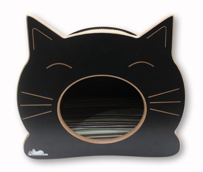Nicho Casinha Cama Toca para gato - Happy Cat - Preto - Ilhabela Marrom