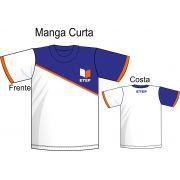 Camiseta Manga Branca C/ Recorte Marinho Curta ETEP