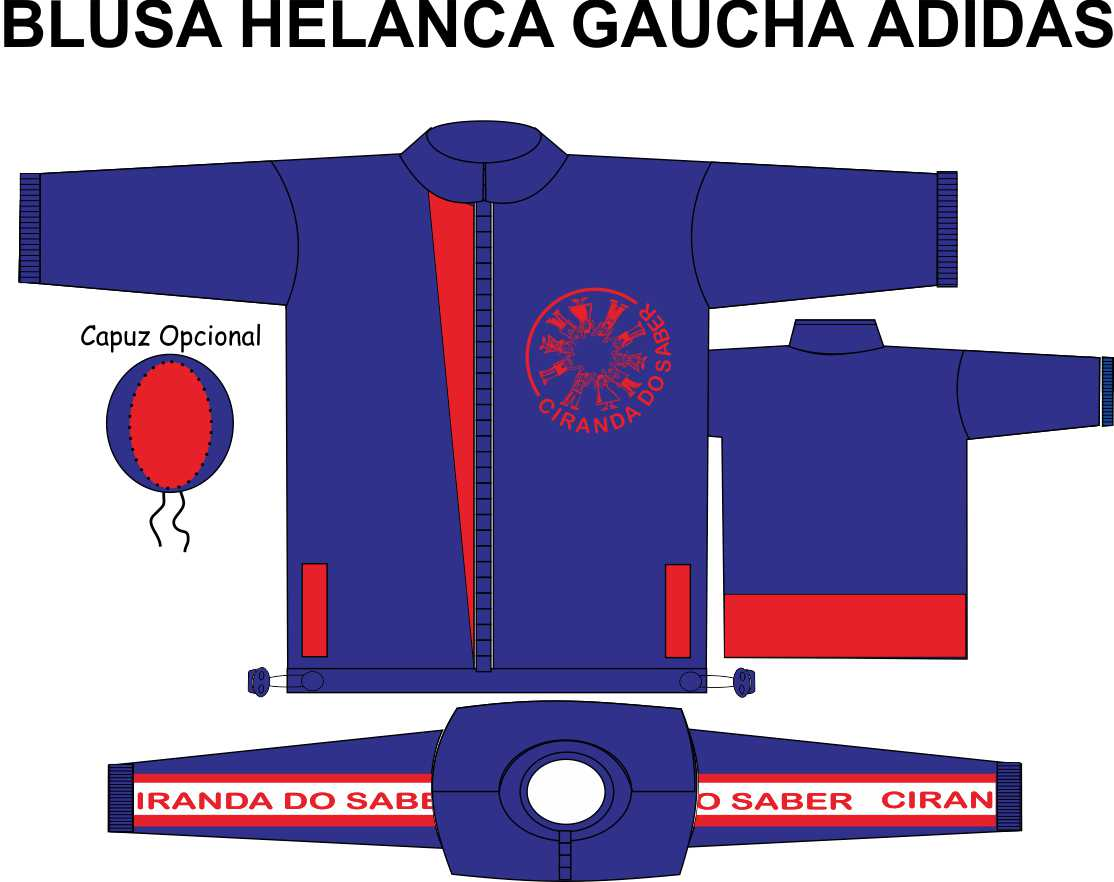 Blusa Helanca Gaucha Adidas Aberta Ciranda do Saber