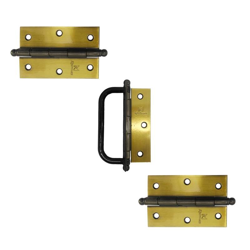 Dobradiça com Alça para Porta Camarão  3.1/2 x 3 Aço Latonado Oxidado