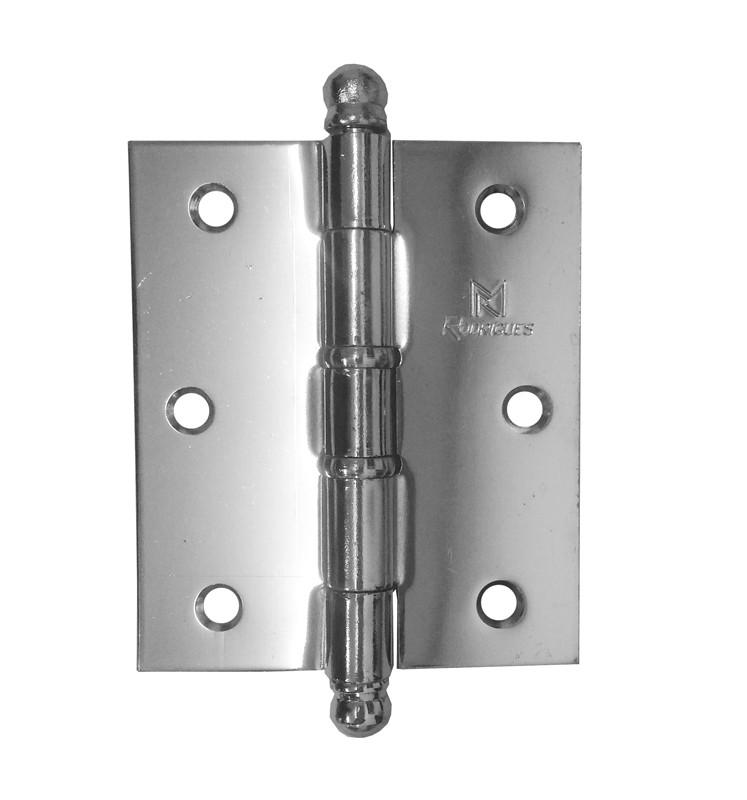 Dobradiça para Porta Reforçada 3.1/2 x 3 Aço Cromado