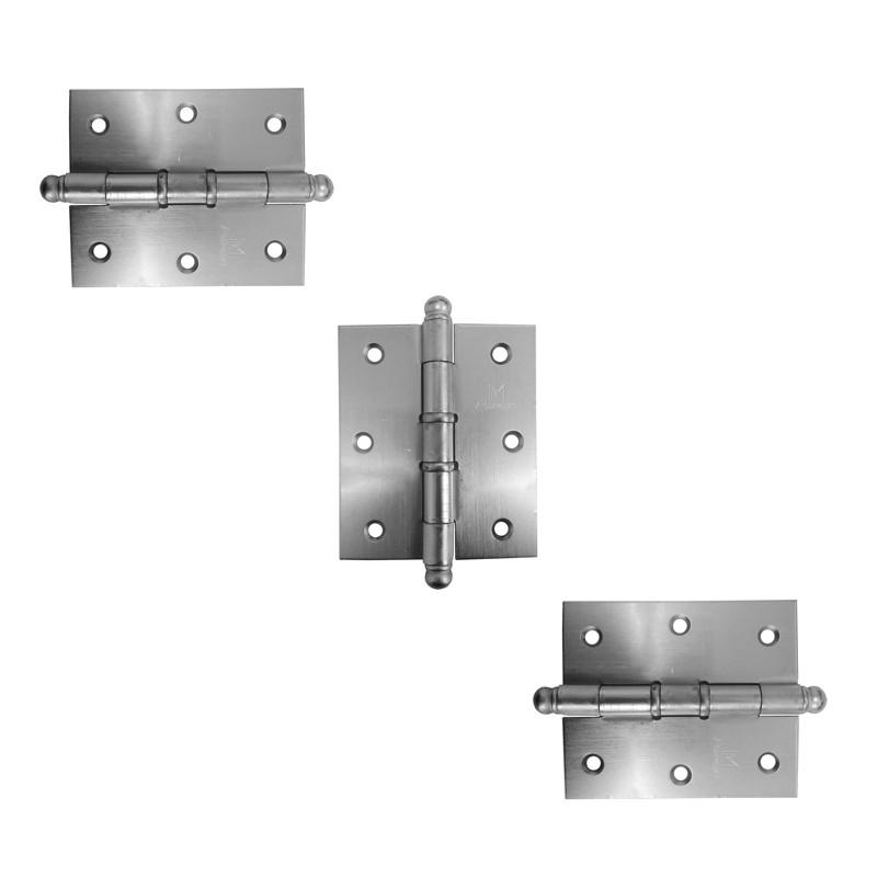 Dobradiça para Porta Reforçada 3.1/2 x 3 Aço Cromo Acetinado