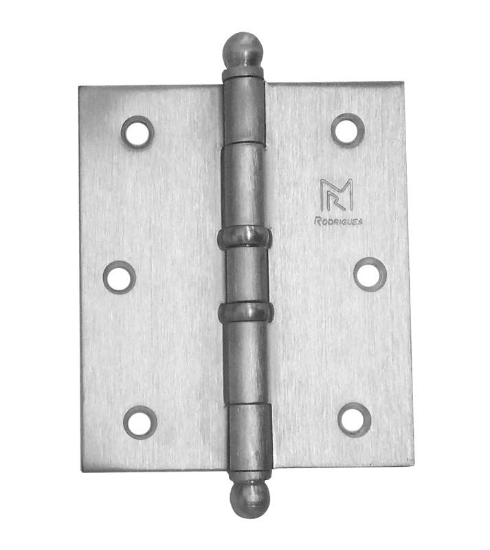 Dobradiça para Porta Reforçada 3.1/2 x 3 Latão Cromo Acetinado