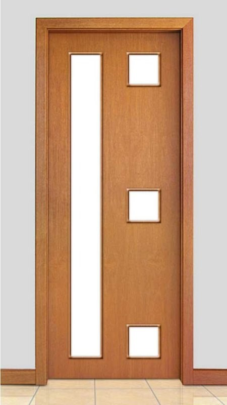 Porta de Madeira com Detalhe Vidro Acabamento Curupixá PTL20