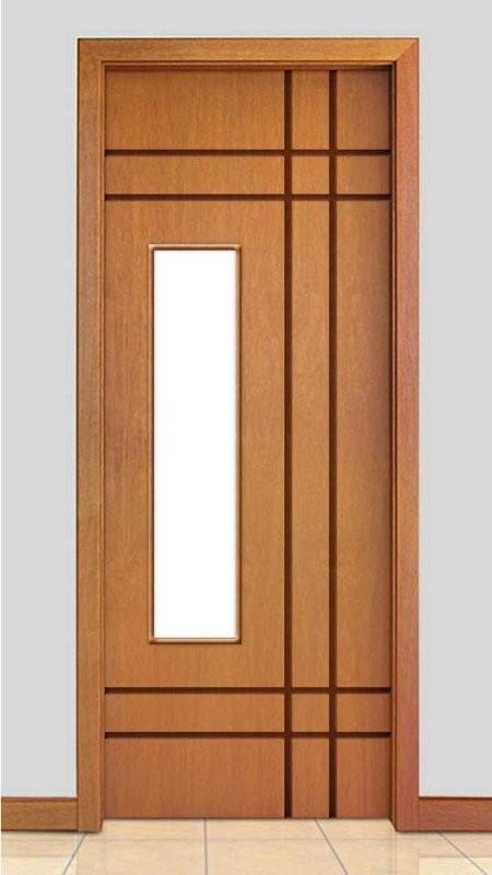 Porta de Madeira Frisada com Detalhe Vidro Acabamento Curupixá PTL510VD