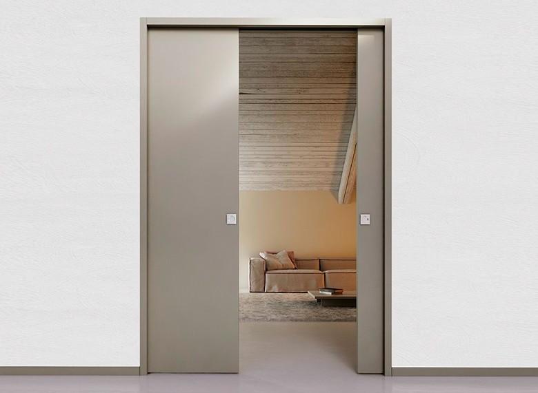 Sistema para Porta Dupla de Correr Embutida na Parede Drywall