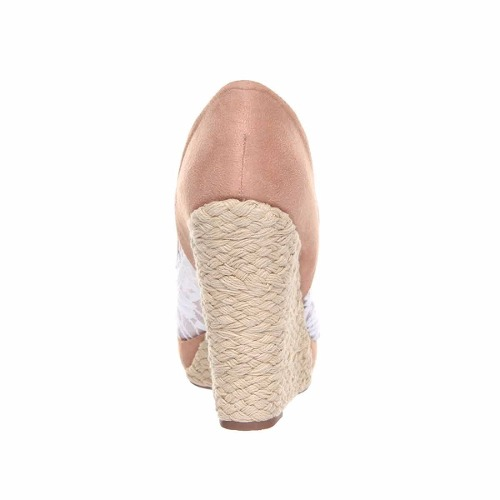 Sapato Peep Toe Vizzano Anabela Renda Camurça Linda 1808410