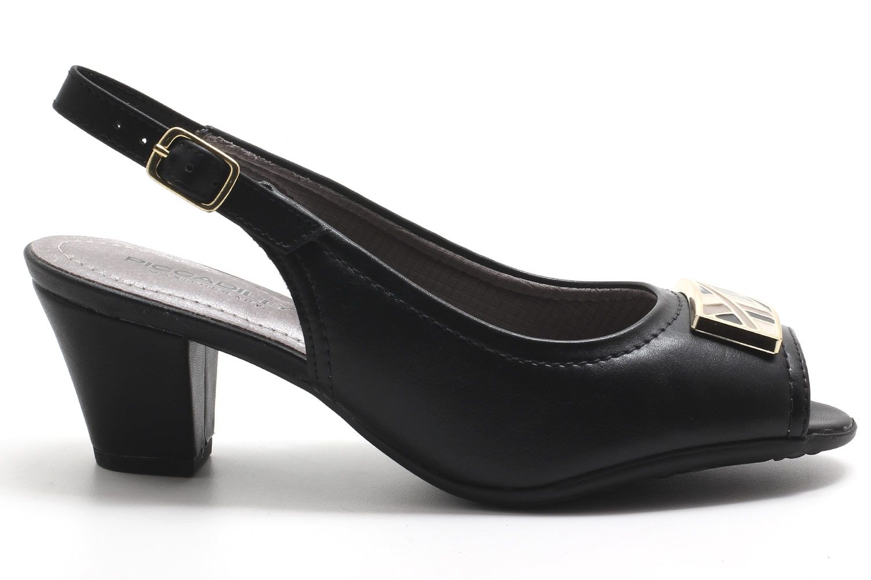 Peep Toe Piccadilly Chanel Metal Salto Baixo 714106