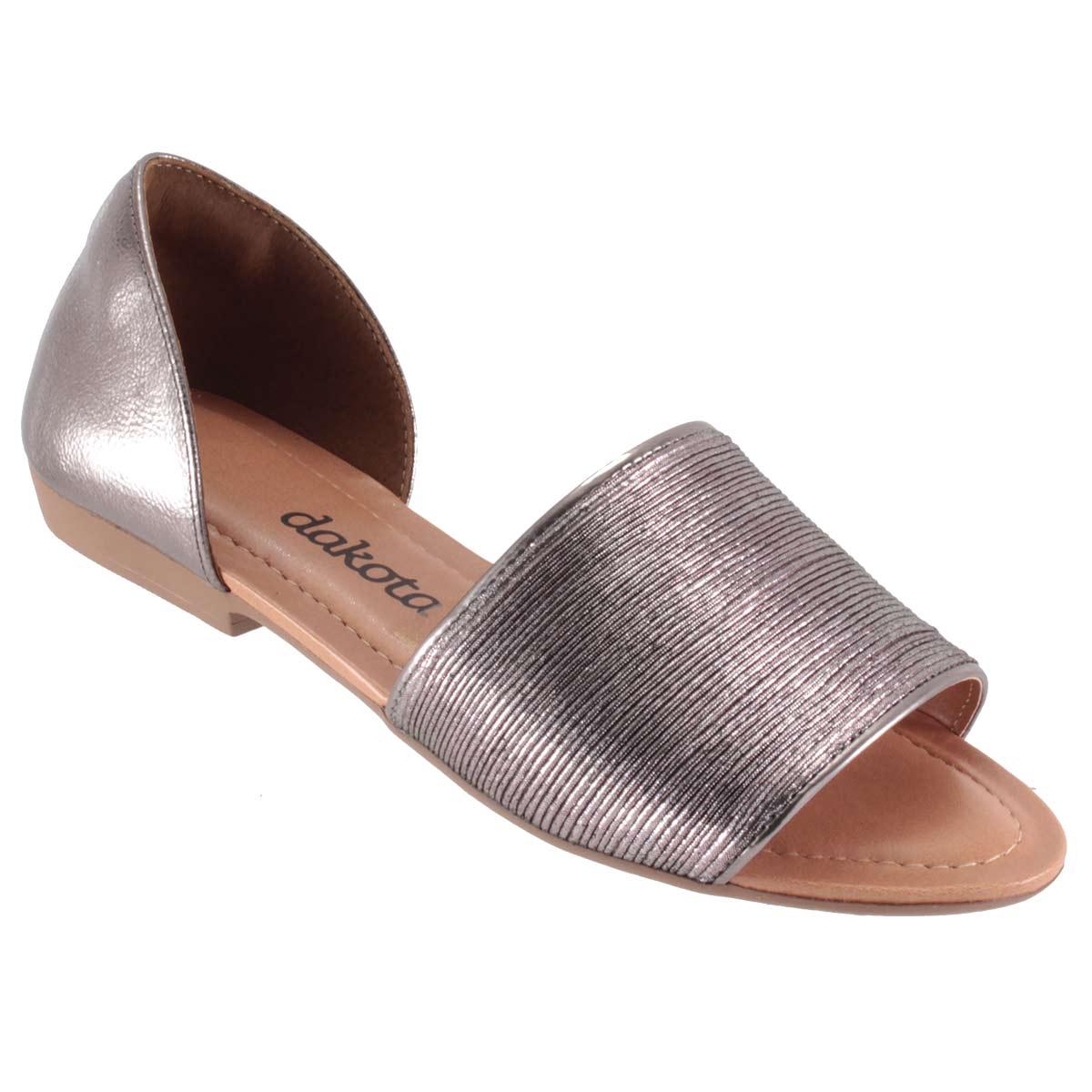 Sandália Dakota Rasteira Metalizada Feminina Linda Confortável Z2653