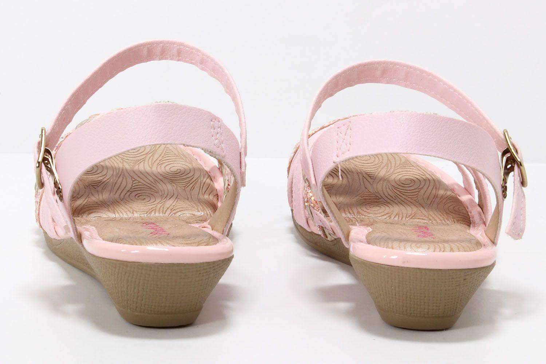 Sandália Pink Cats Menina Anabela Infantil Tiras V0294