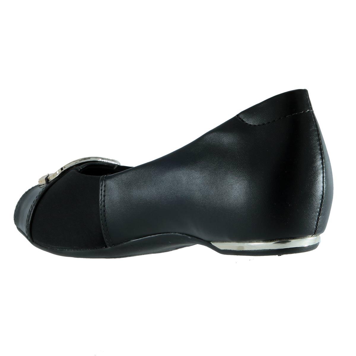 Sapatilha Peep Toe Comfortflex Fivela Joanete Salto Embutido 1776305