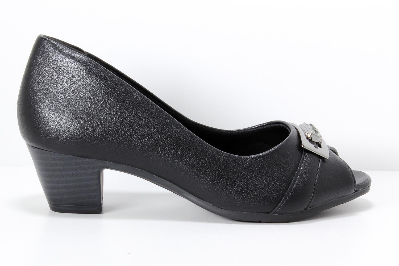 Sapato Comfortflex Peep Toe Feminino Metal 1887405