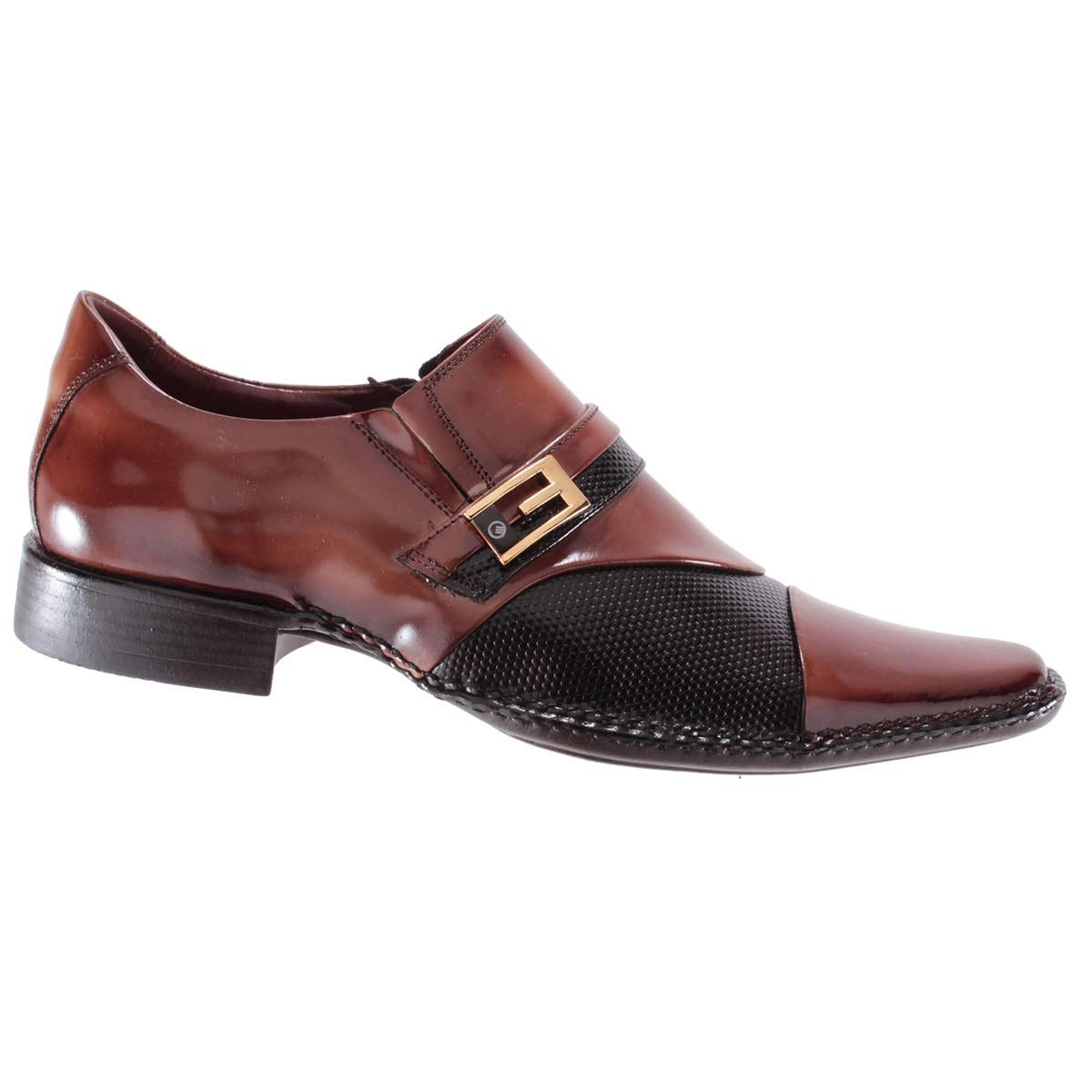 Sapato Social Gofer Masculino Fivela Couro Verniz Legítimo 0701A