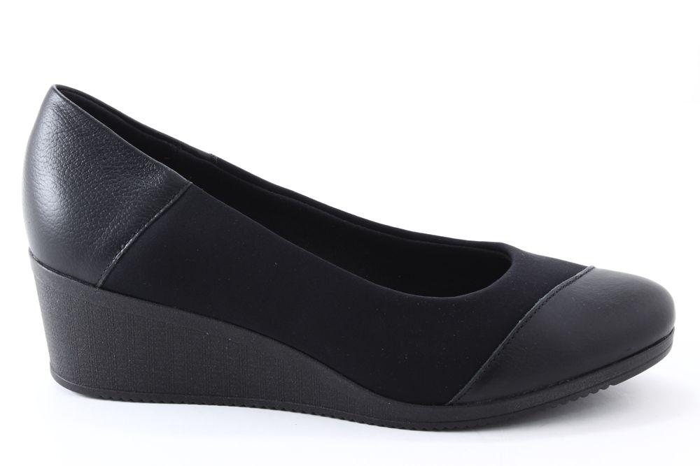 Sapato Usaflex Care Joanete Neoprene Anabela Couro Feminino AA3810