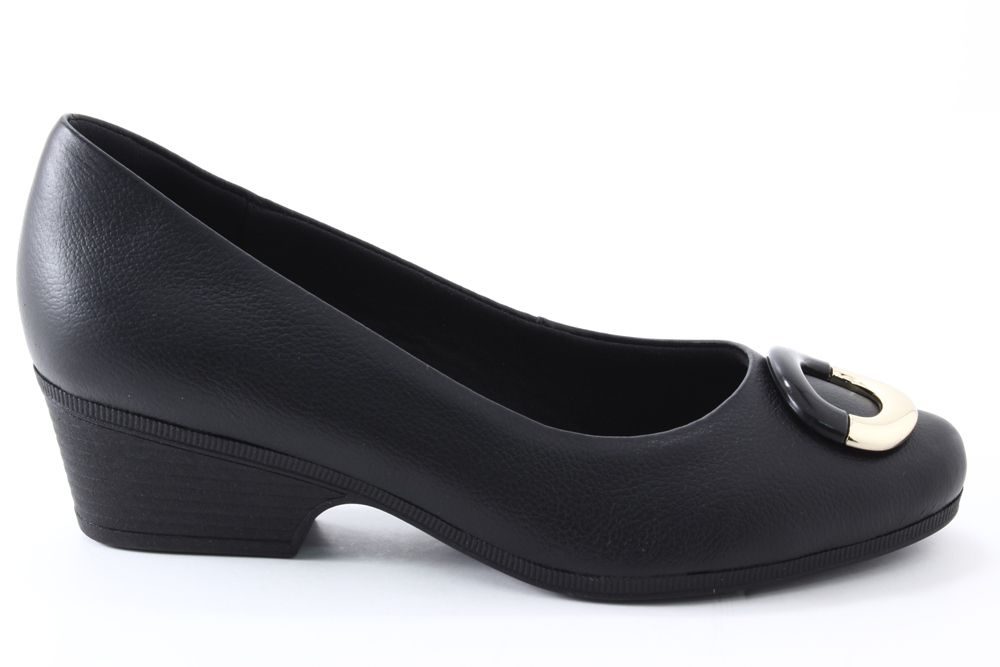 Sapato Usaflex Salto Baixo Metal Couro Feminino AB9103