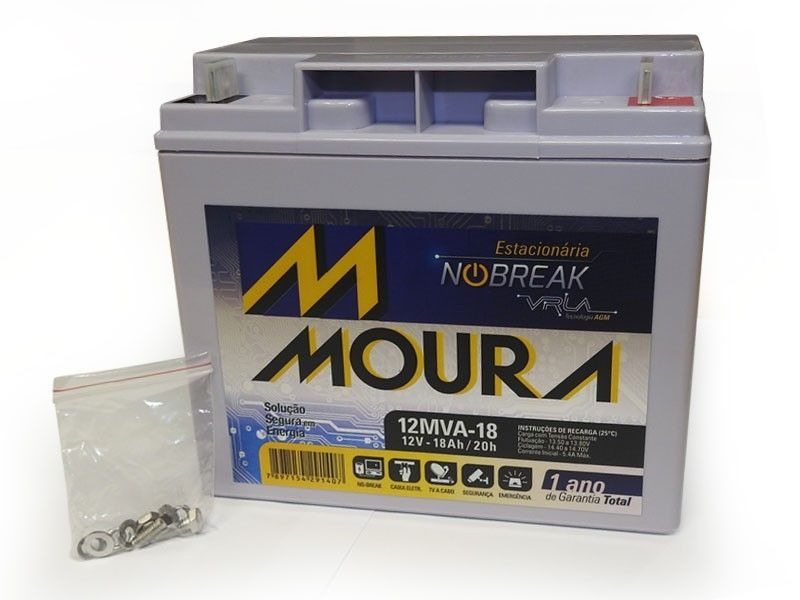 Bateria 12v 18ah Estacionária (selada) Moura VRLA p/ Nobreak