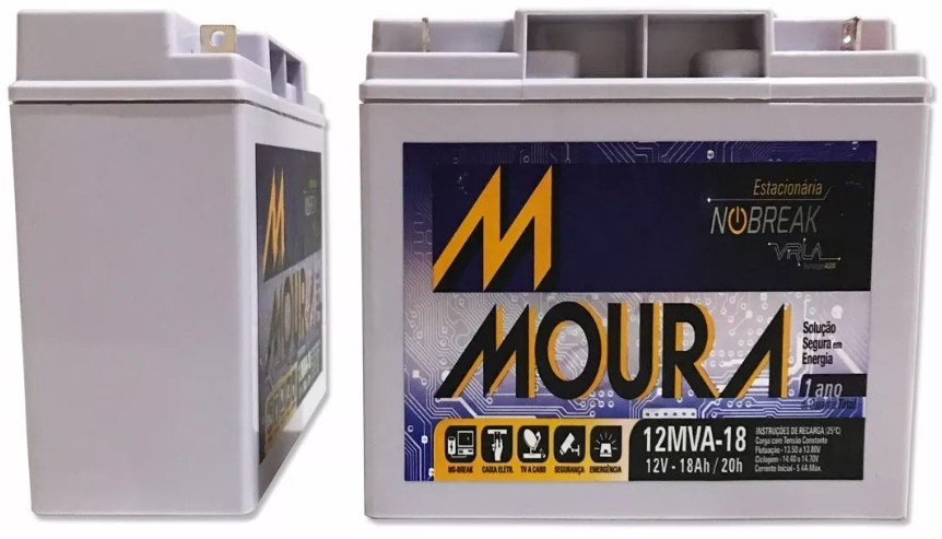 Bateria 12v 18ah Estacionária (selada) Moura VRLA p/ Nobreak  - Esferatronic Comercio e Distribuição