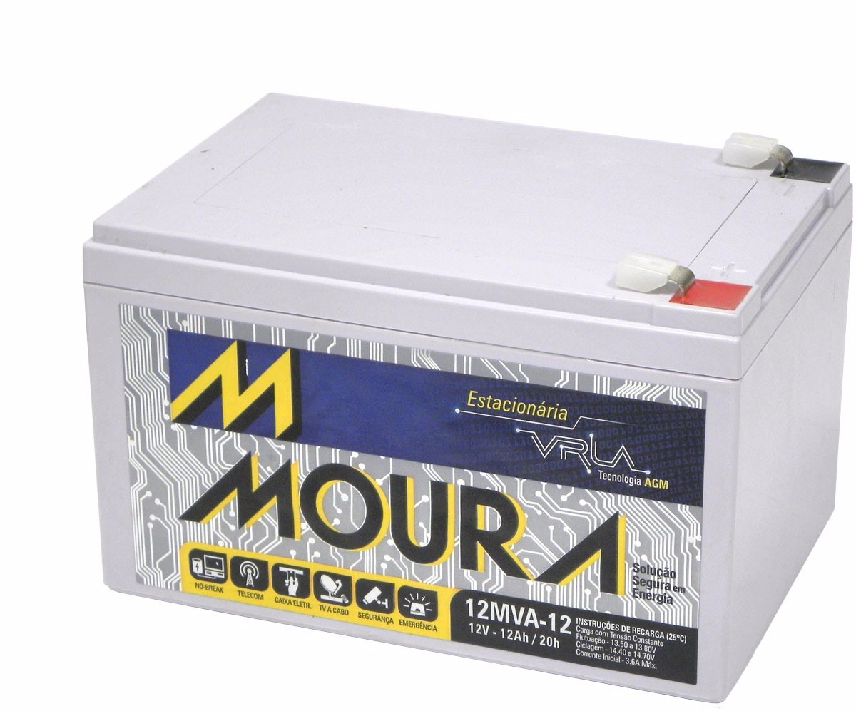 Bateria 12v 12ah selada Moura p/ Nobreak Alarme bike scooter  - Esferatronic Comercio e Distribuição