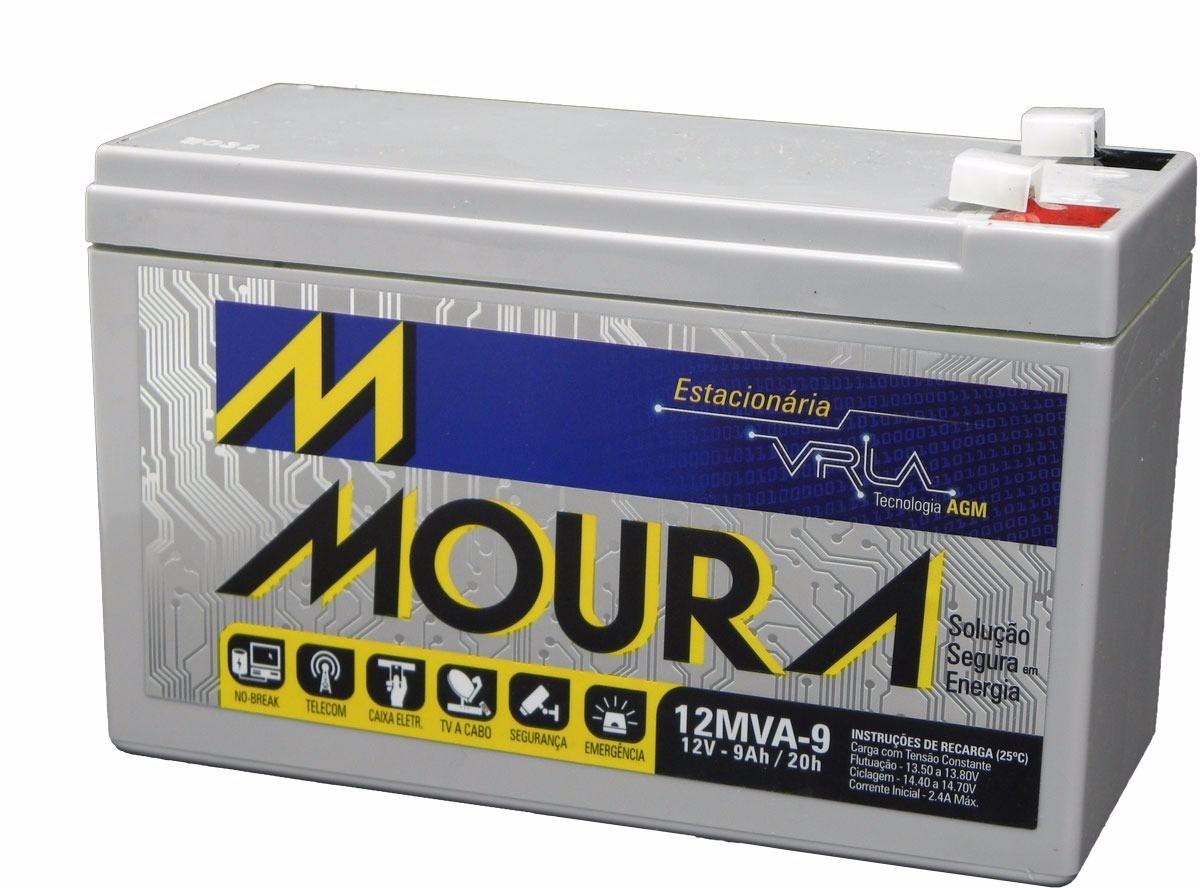 Bateria 12v 9ah selada Moura p/ Nobreak Cerca elétrica Alarme