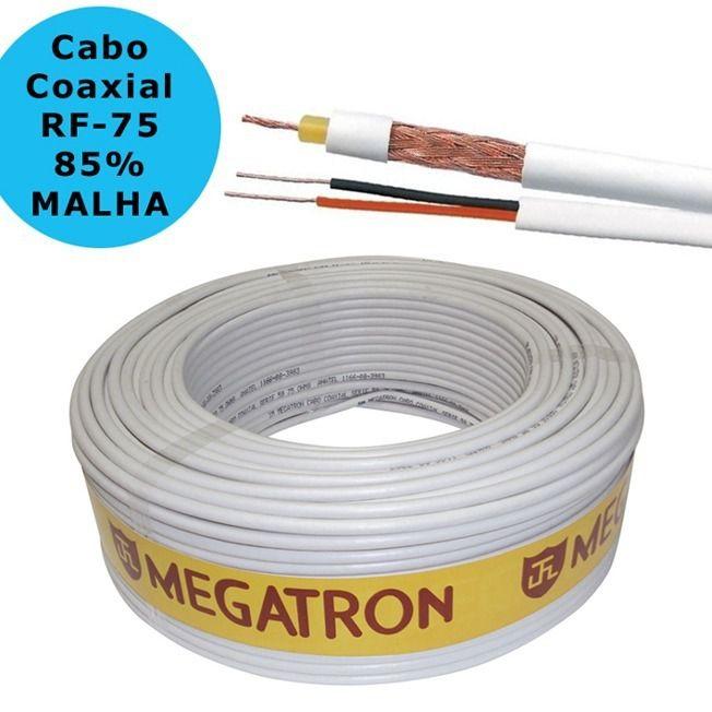Cabo Coaxial CFTV Flexível RF 4mm + Bipolar 2x26AWG Aplicações em Câmeras 100 metros