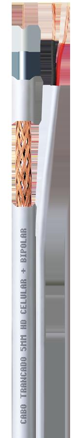 Cabo Coaxial Premium HD 5mm Dupla Blindagem 85% + Bipolar flex 100 metros  - Esferatronic Comercio e Distribuição