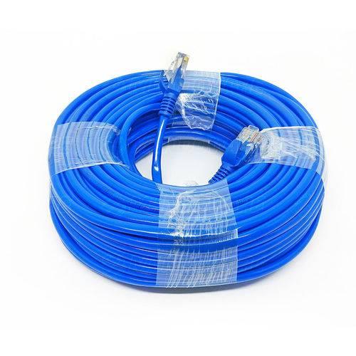 Cabo de Rede Internet CAT5e Azul 100% cobre com RJ45 Homologado Anatel - 50 Metros