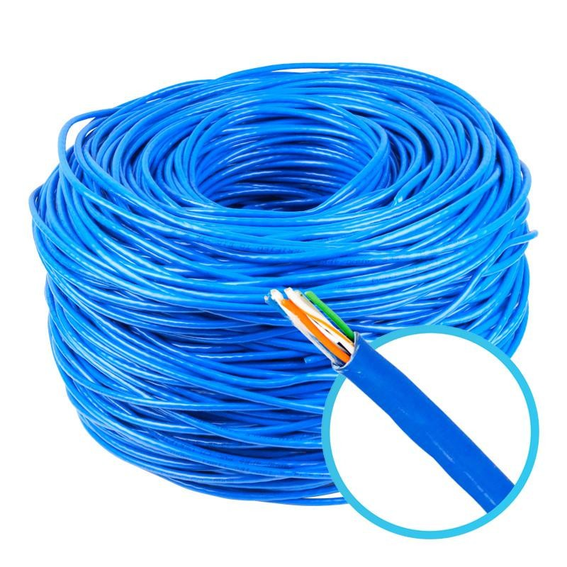 Cabo de Rede UTP CAT5e Azul 100% Cobre Homologado Anatel Megatron - 50 Metros