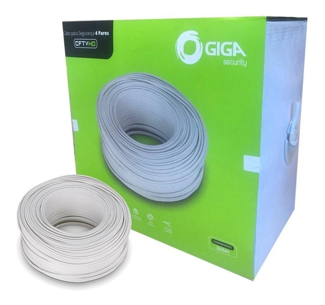 Cabo Rede CFTV 24AWG Giga Security 4 Pares 0,51mm com 305 Metros Branco - GS0230