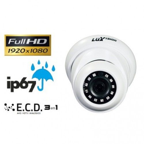 Câmera Infra Dome ECD 3 em 1 de 2MP full HD 1080P lente 2.8mm  ip67 Luxvision