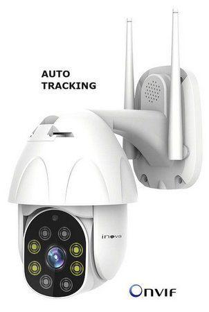 Câmera Wifi Externa Inteligente Full HD 1080p Auto Tracking ONVIF Visão Noturna 20 Metros, Visualização no Celular - Inova