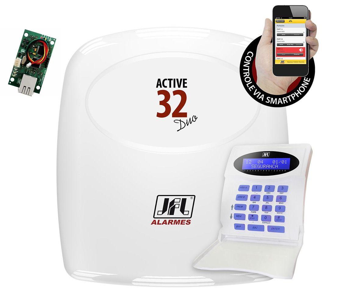 Central de alarme JFL Active 32 Duo Lcd + modulo internet ME-03 Mob