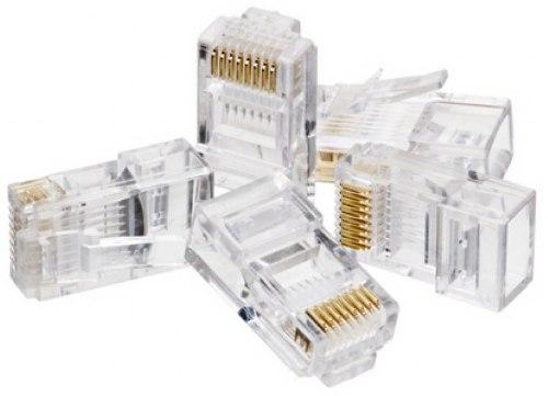 Conector RJ45 macho plug para cabo de rede lan cat5e  - Esferatronic Comercio e Distribuição