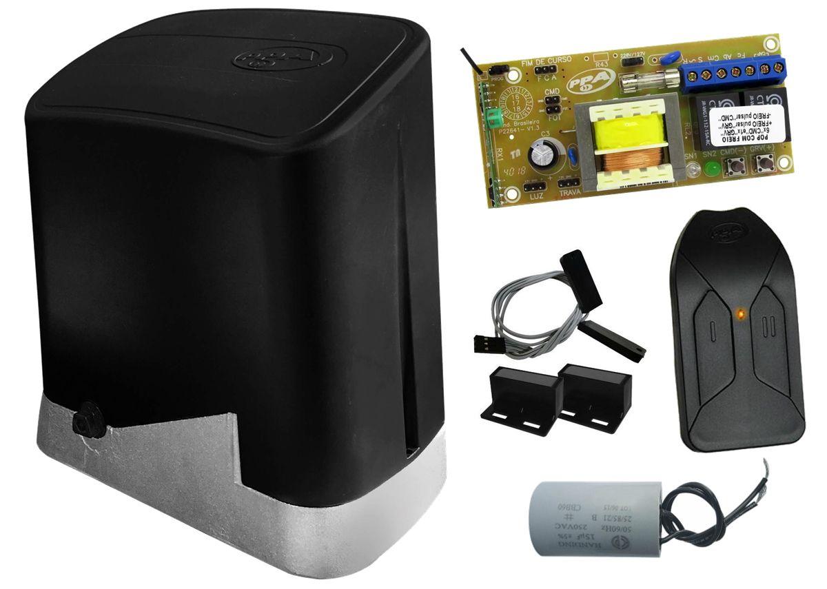 Conjunto automatizador portão de correr DZ Home custom analógico 1/4 hp PPA